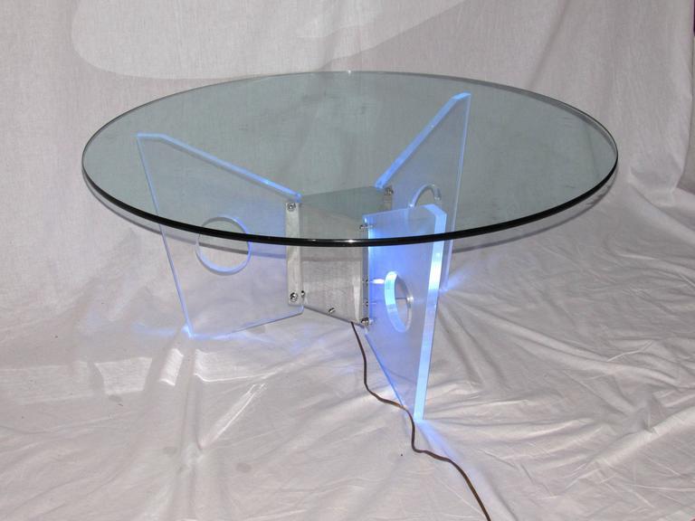 Aluminum Illuminated Lucite Coffee Table, circa 1970 For Sale