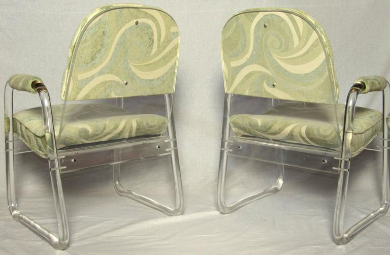 Cast Pair of Lucite Lounge Chairs Hill Industries , circa 1970 For Sale