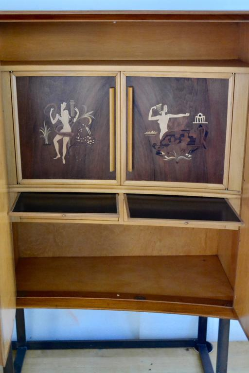 Marquetry Andrew Szoeke Dry Bar, circa 1950 For Sale