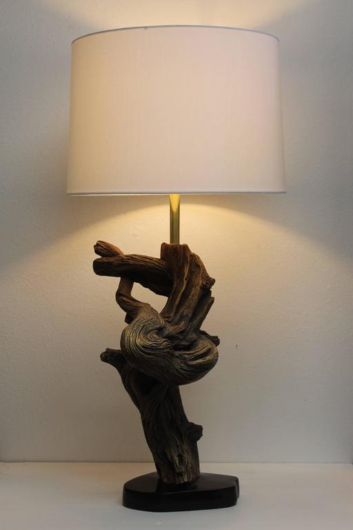 ceramic faux driftwood lamp for sale at 1stdibs. Black Bedroom Furniture Sets. Home Design Ideas