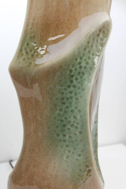 Pair of Ceramic Brown and Green Lamps For Sale 3