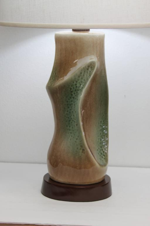 American Pair of Ceramic Brown and Green Lamps For Sale