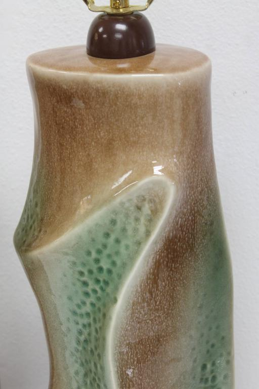 Pair of Ceramic Brown and Green Lamps For Sale 2
