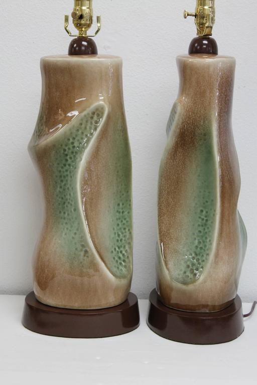 Pair of Ceramic Brown and Green Lamps For Sale 1