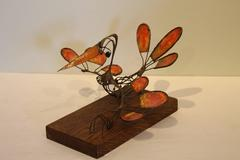 Copper and Enamel Bird Sculpture by Russ Shears