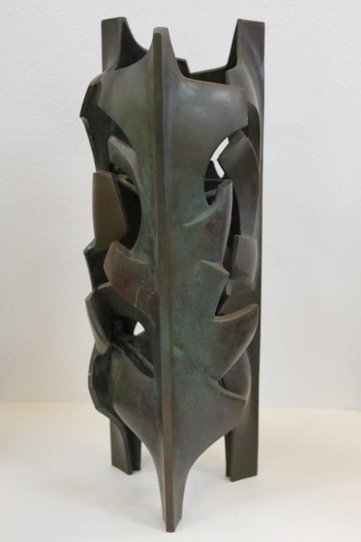 Malcolm Leland designed bronze sculpture for Architectural Pottery, circa 1962 but, never put into production. This example is from a 2006 artist approved casting of a series of four. Measures: 21