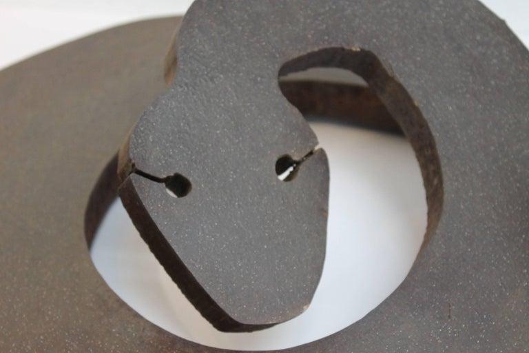 American Brutalist Steel Rattlesnake Sculpture For Sale