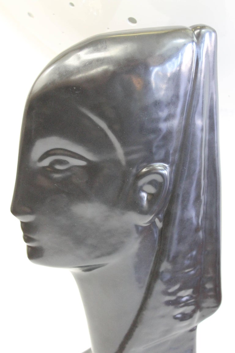 American Ceramic Egyptian Bust For Sale