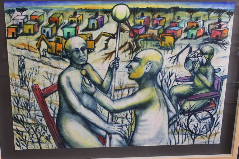 Painting on paper by Daniel Ruben Rosel titled La entrevista con saramago (the interview with Saramago) and dated 2001. Painting framed measures 46.5