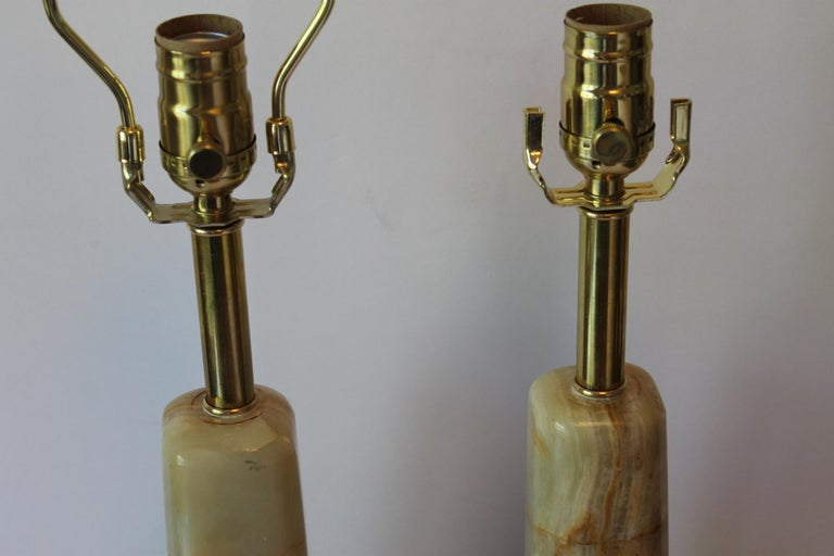 Pair of Onyx Lamps For Sale 2