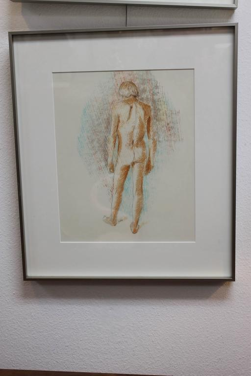 Duane Richard Raoul Faralla (1916 - 1996) nude drawing. We also have the front view available for sale. This drawing done with pencil and water color is unlike what Faralla is known for. He's known for sculptures made of recycled wood. Unframed it's
