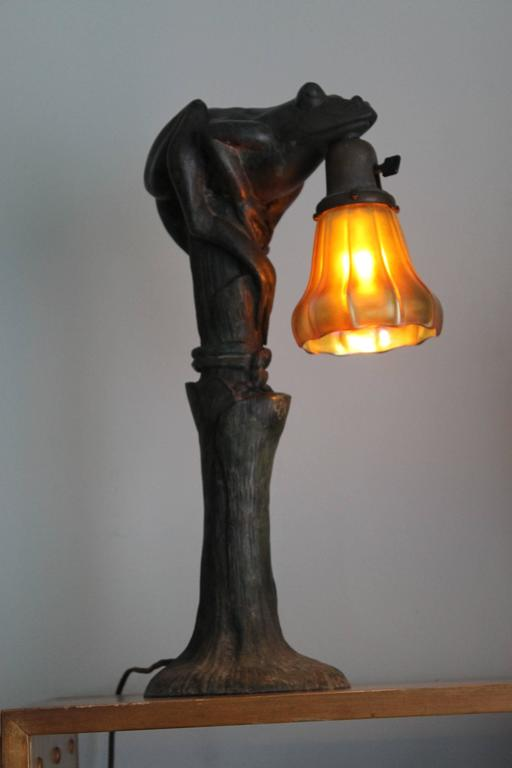 Art Nouveau Figural Bronze Frog Lamp with Steuben Shade at 1stDibs