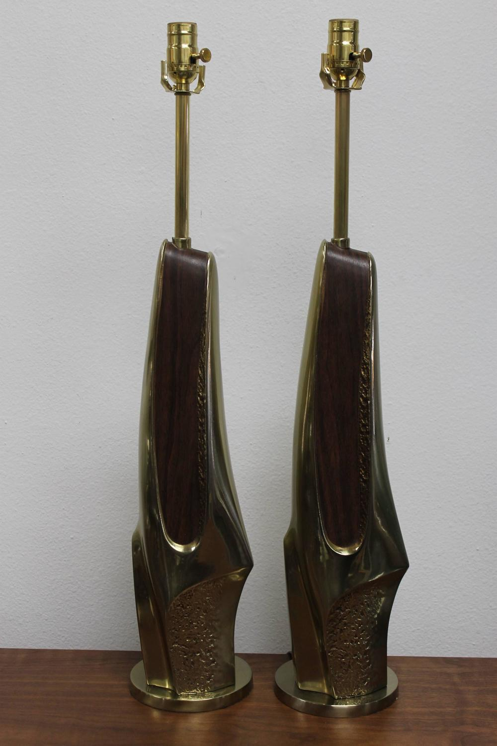 Pair Of Brutalist Brass And Wood Veneer Lamps By Laurel