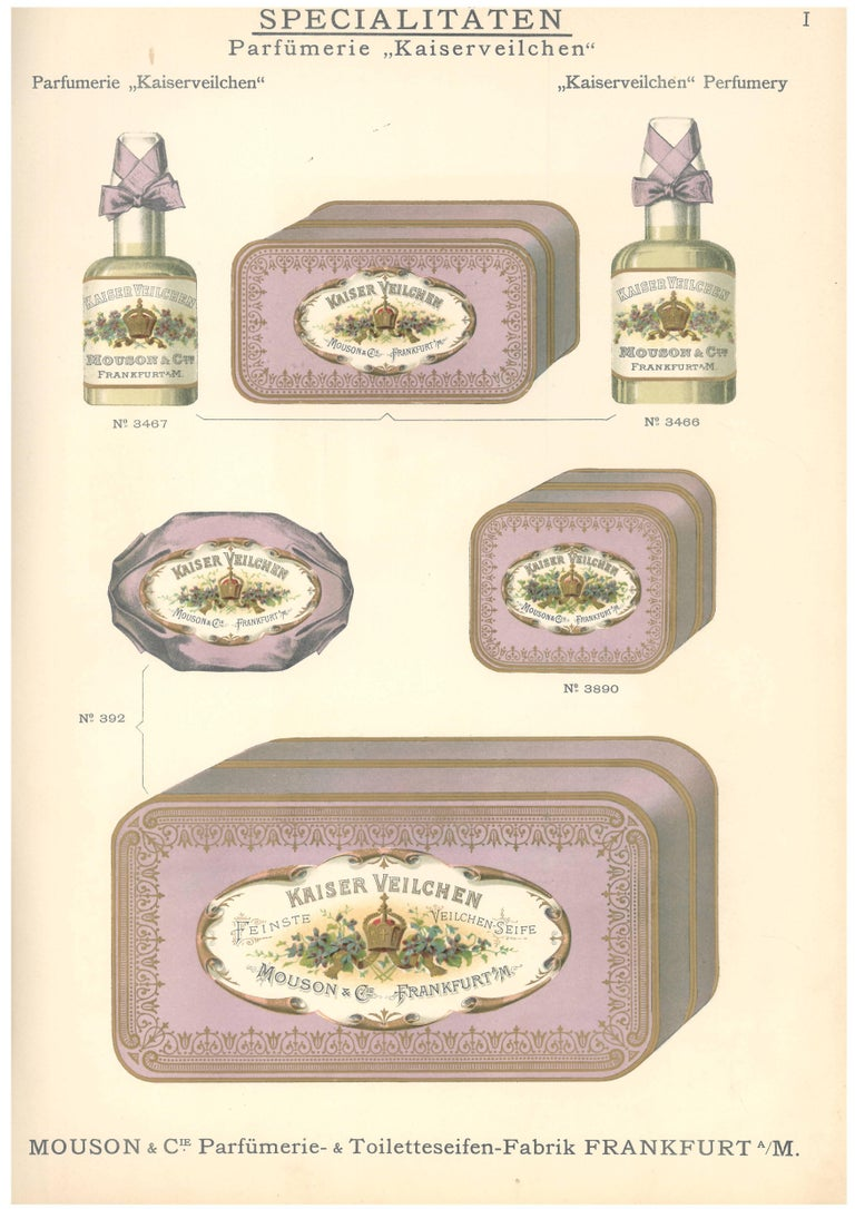 A rare sale catalogue of luxury goods including perfumes, toiletries and soaps from the early years of the twentieth century produced by Mousons & Cie of Frankfurt. Lavishly illustrated with over 750 samples in color with gold gouache highlighting.