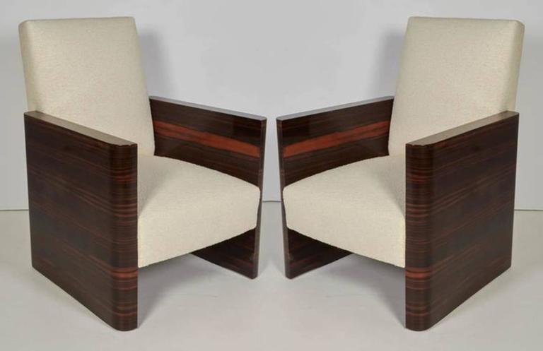 Pair of French Art Deco Macassar Wood Armchairs 2