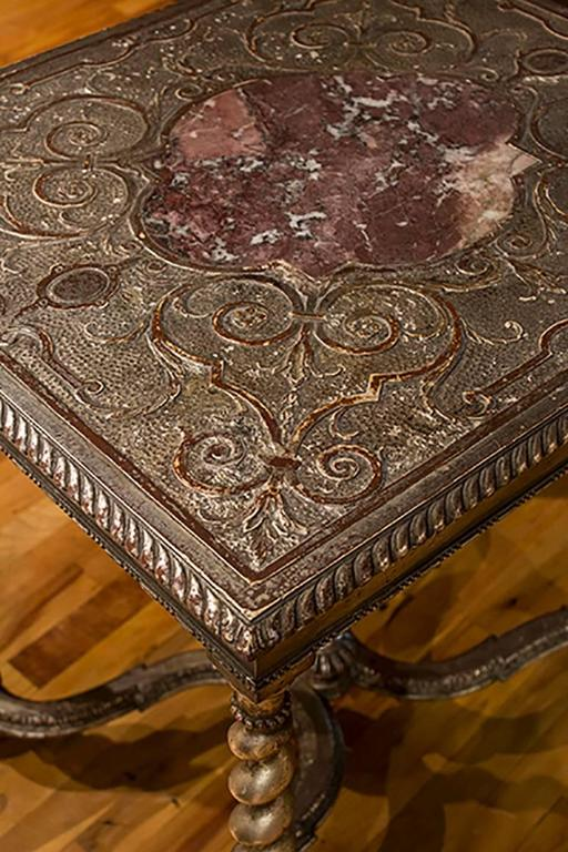 English Silver Gilt Table with Marble Insert 2