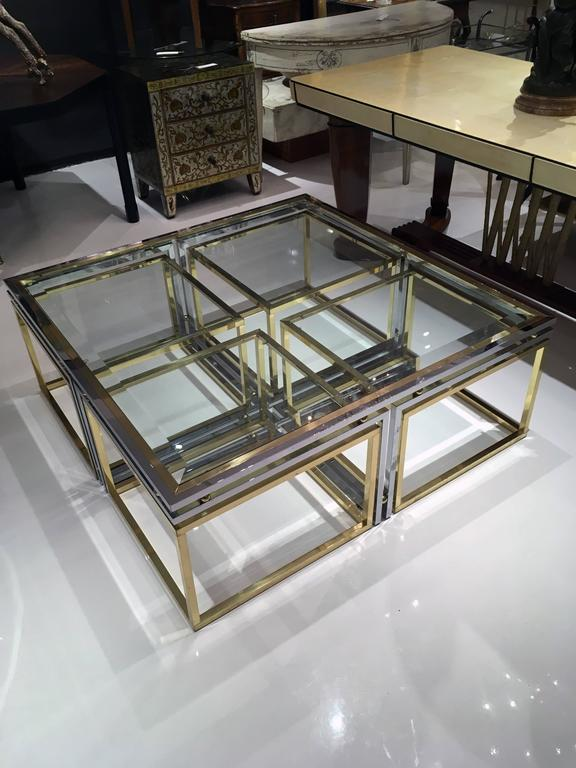Italian Brass, Chrome and Glass Cocktail Table 2