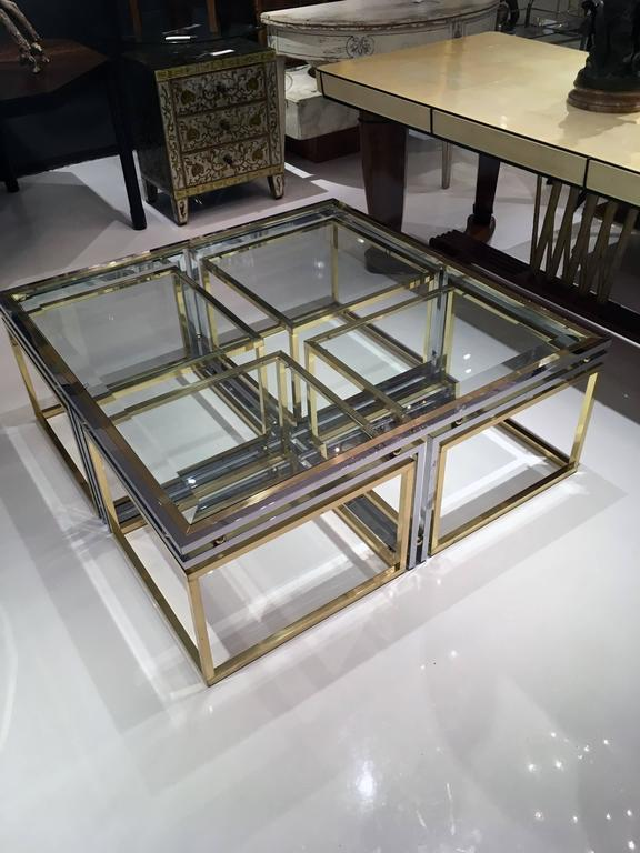 Italian Brass, Chrome and Glass Cocktail Table 3