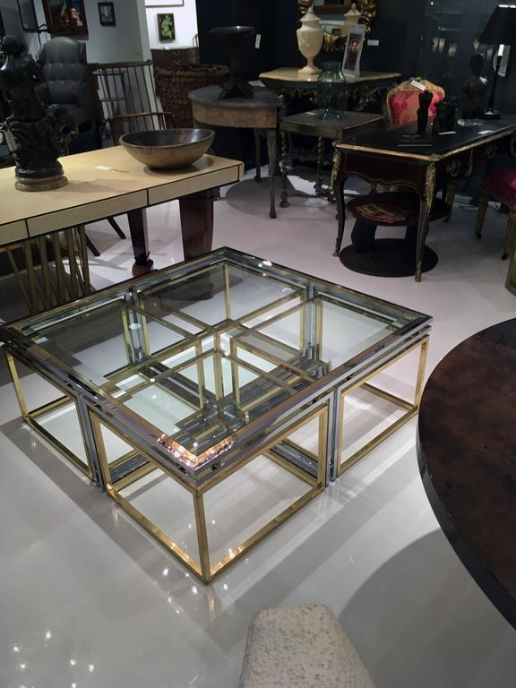 Italian Brass, Chrome and Glass Cocktail Table 4