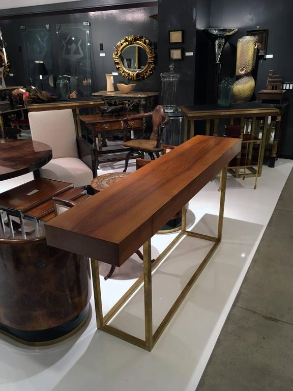 Italian Wood and Brass Console Table with Three Drawers 2