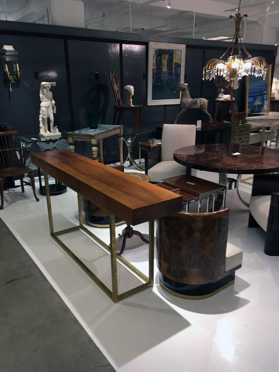 Italian Wood and Brass Console Table with Three Drawers 3