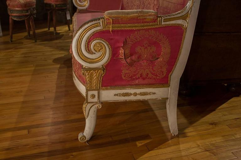 Pair of French Painted and Gilt Sofas 4