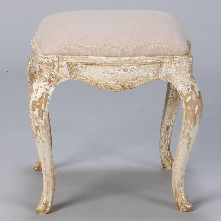 French Upholstered Stool With Original Painted Frame At