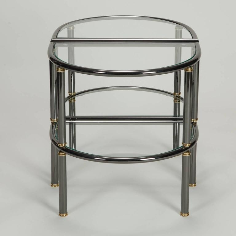 Pair of Mid-Century Demilune Gun Metal and Glass Side Tables In Excellent Condition For Sale In Troy, MI