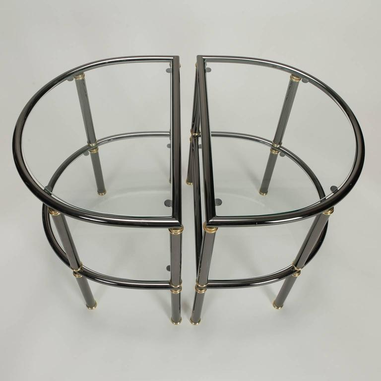 20th Century Pair of Mid-Century Demilune Gun Metal and Glass Side Tables For Sale