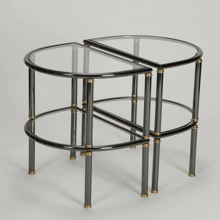 Brass Pair of Mid-Century Demilune Gun Metal and Glass Side Tables For Sale