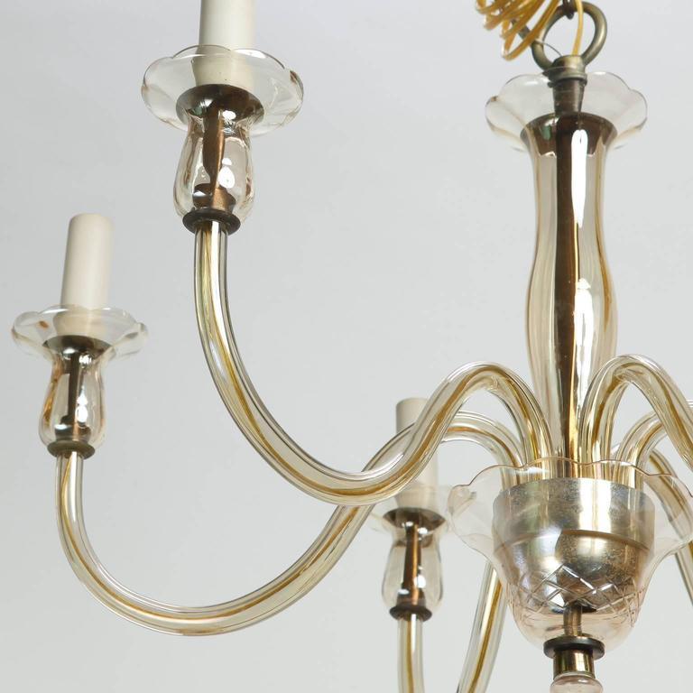 Italian Six-Arm Pale Amber Murano Glass Chandelier