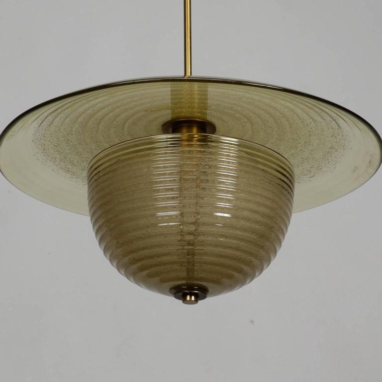 Pair Of Barovier And Toso Modernist Hanging Fixtures For
