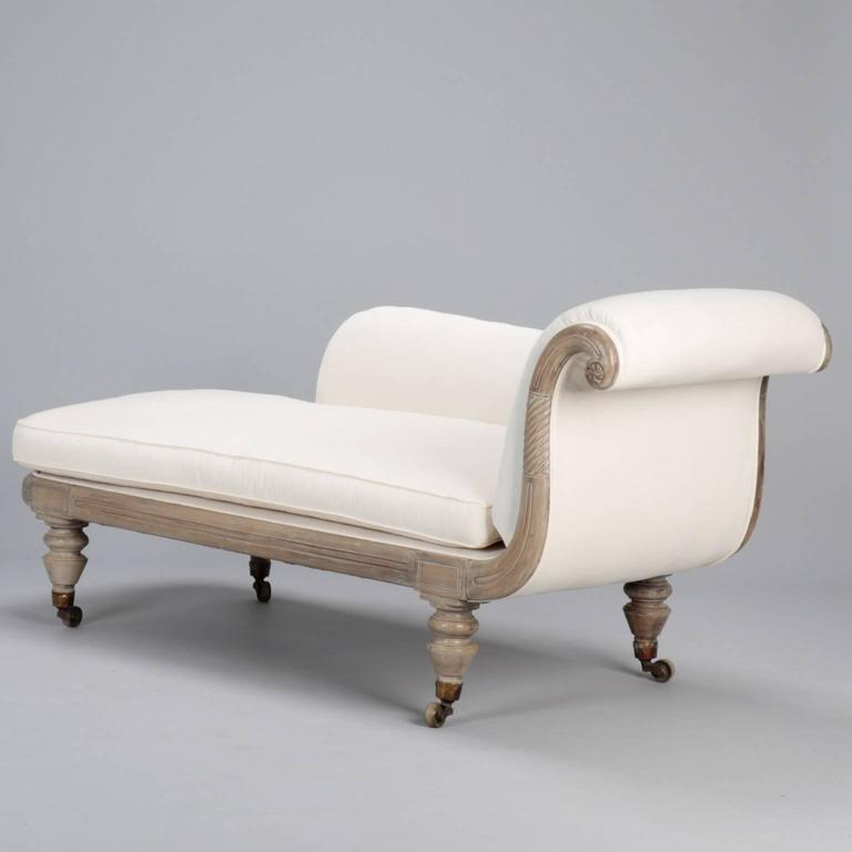 french chaise longue with bleached wood frame for sale at 1stdibs. Black Bedroom Furniture Sets. Home Design Ideas