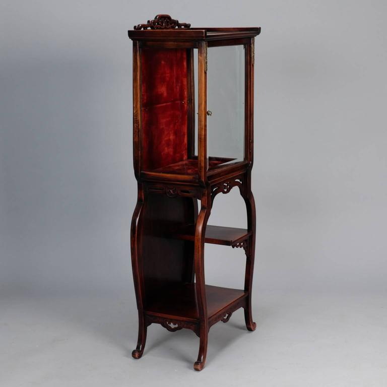 Tall Narrow Chinese Carved Wood Display Cabinet At 1stdibs