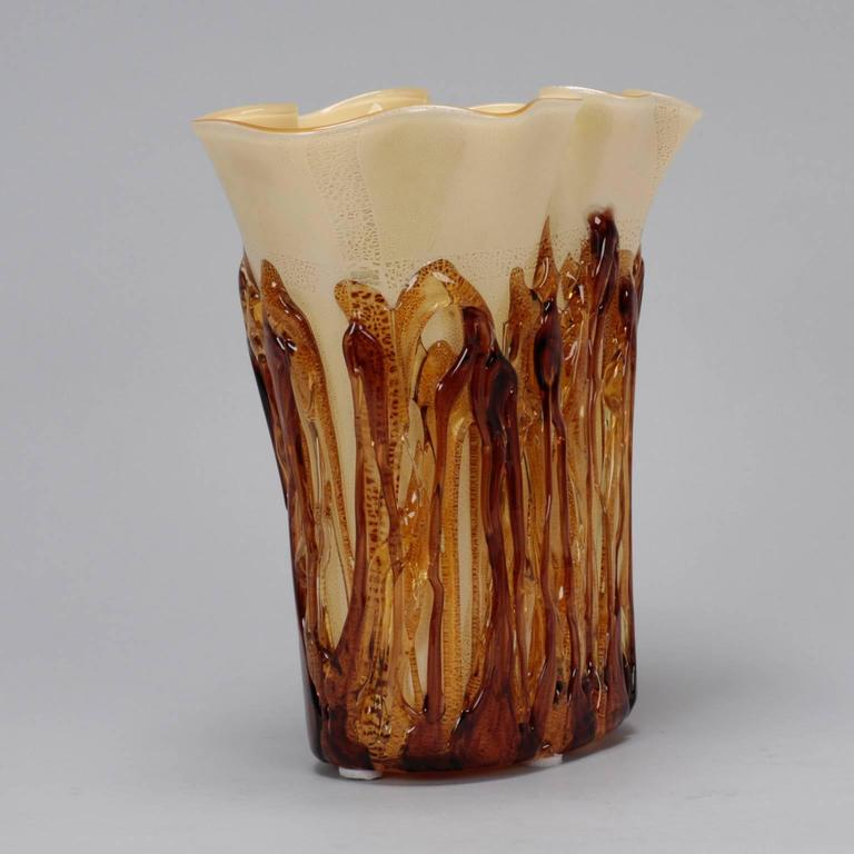 20th Century Tall Cream Color Murano Vase Encased in Applied Gold Glass For Sale