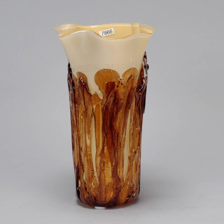 Tall Cream Color Murano Vase Encased in Applied Gold Glass For Sale 1