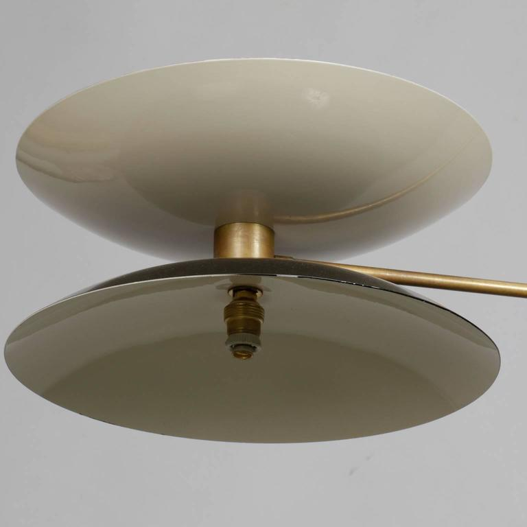 Mid-Century Modern Mid-Century Italian Stilnovo Style Brass and Enameled Metal Light Fixture