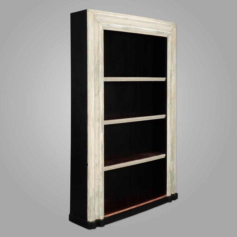 Large Bookcase Made From Salvaged 19th Century English Door Frame Distressed Creamy Antique White Painted