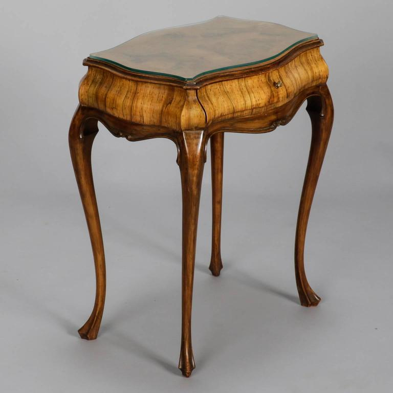 19th century italian olive wood side table or nightstand for Functional side table
