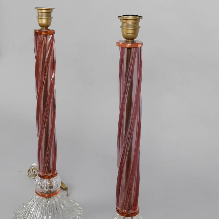Pair of Mid-Century Tall Murano Glass Lamps In Excellent Condition For Sale In Troy, MI