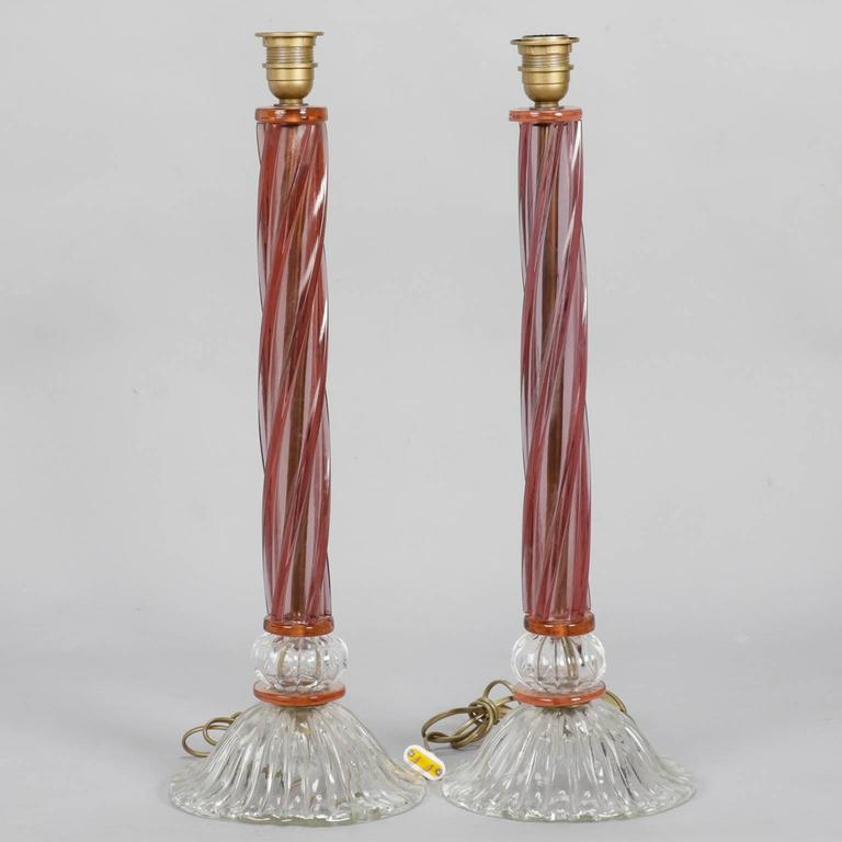 Italian Pair of Mid-Century Tall Murano Glass Lamps For Sale