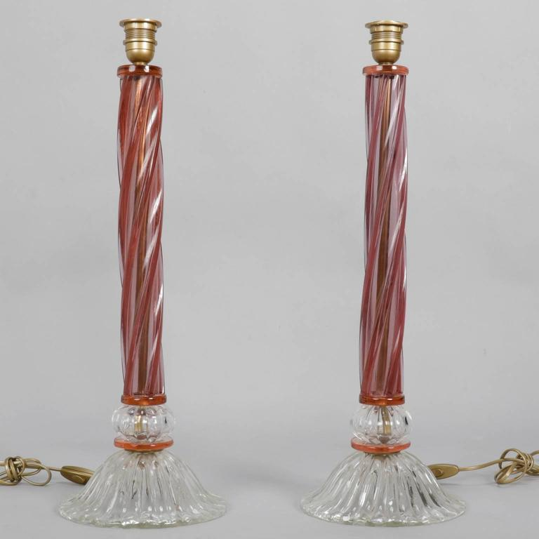 20th Century Pair of Mid-Century Tall Murano Glass Lamps For Sale