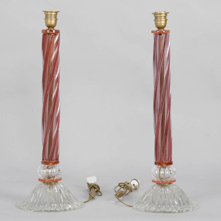 Pair of Mid-Century Tall Murano Glass Lamps For Sale 2