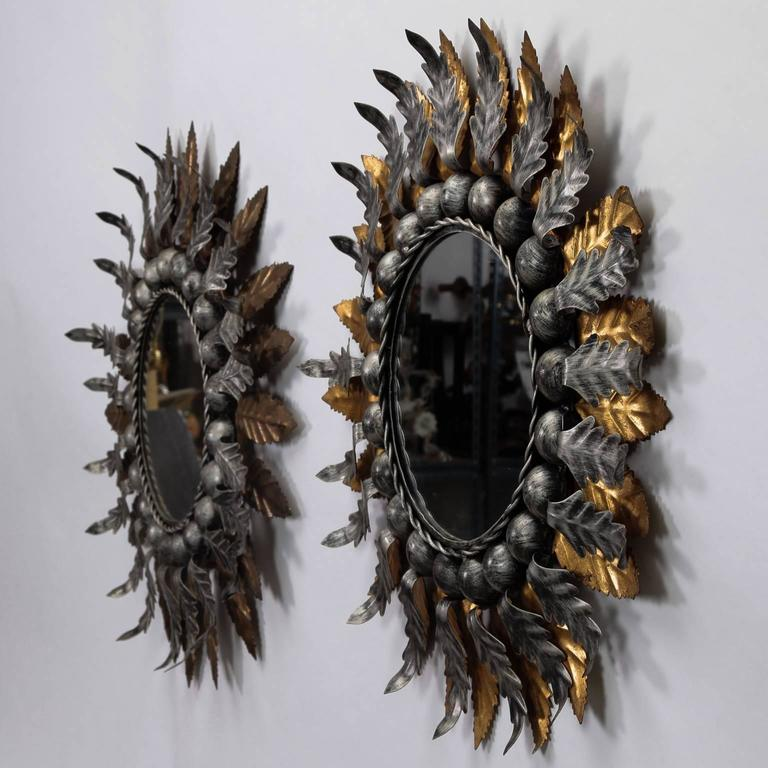 Pair of Spanish Gilt and Silver Metal Sunburst Mirrors 2