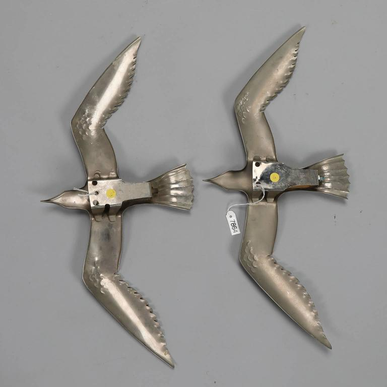 Italian Pair of Mid-Century Aluminium Winged Gull Wall Lights or Sculptures For Sale