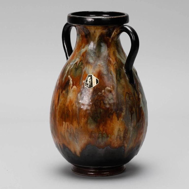 Belgian Large Roger Guerin Two Handled Vase For Sale