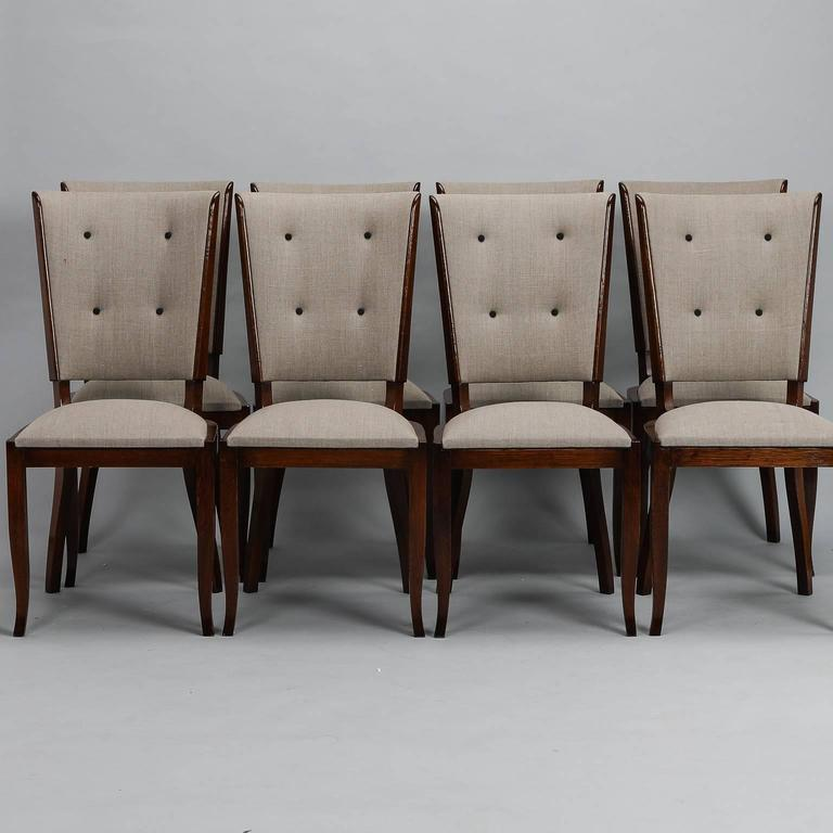 Set Of Eight Polished Wood Tufted Mid Century Dining