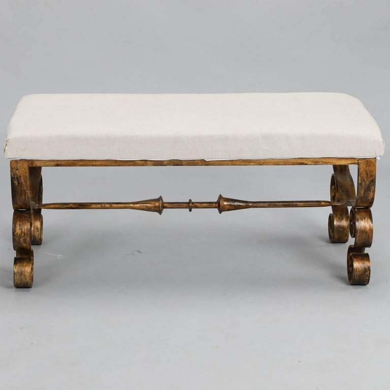 Upholstered Bench With Scrolled Gilt Metal Legs At 1stdibs