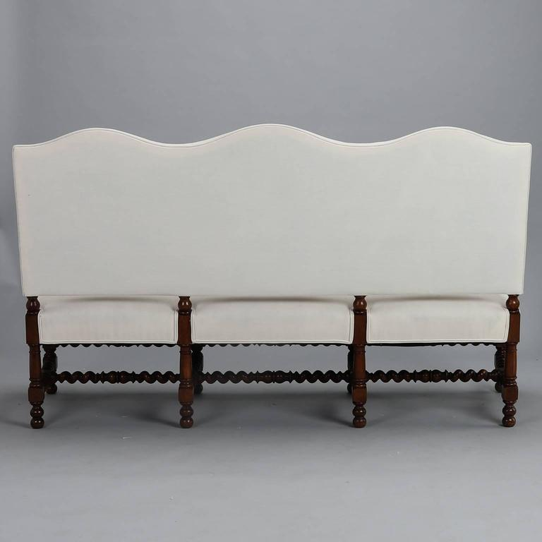 Large French Camel Back Settee With Barley Twist Frame At