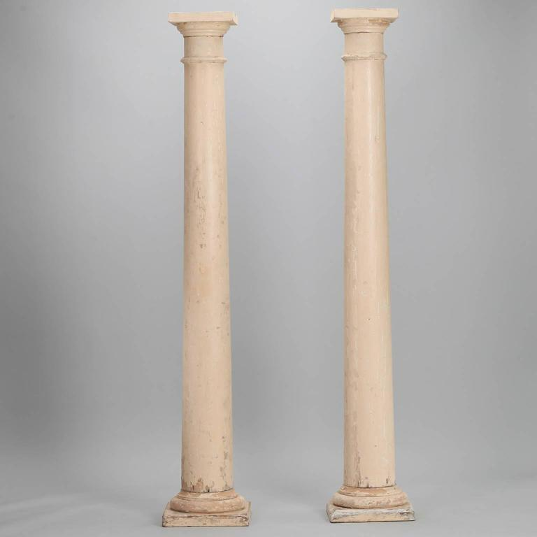 Pair of architectural salvage antique white painted wood for Architectural wood columns